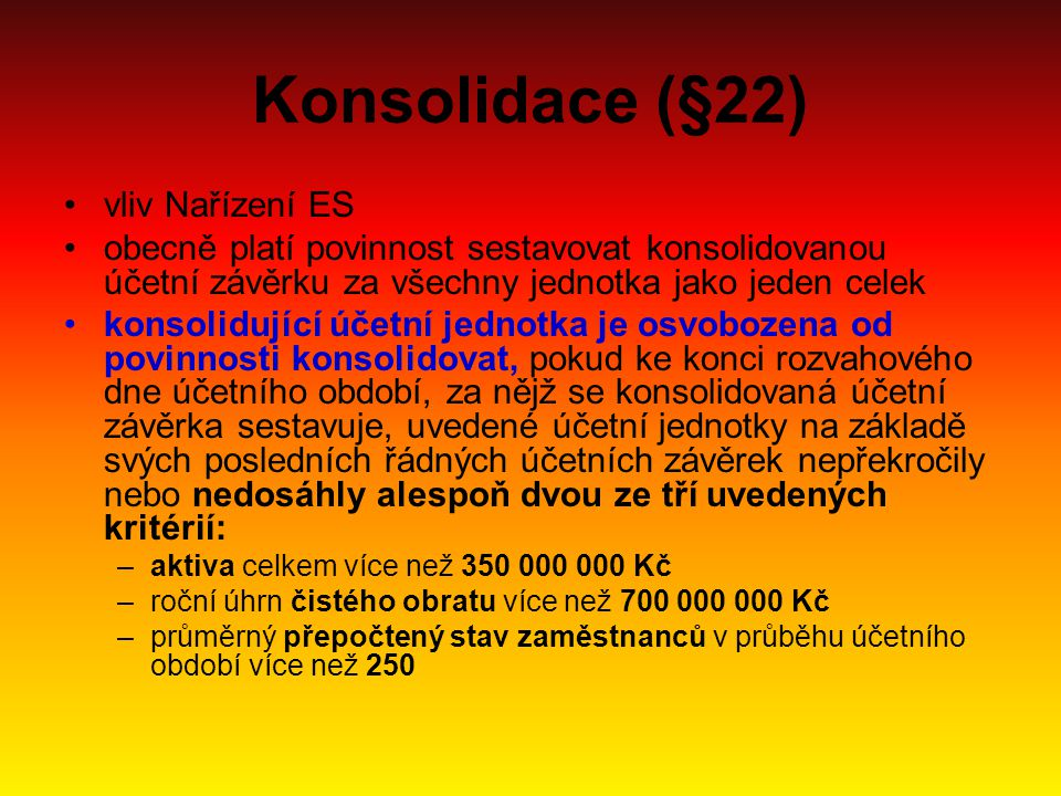 Konsolidace (§22) vliv Nařízení ES