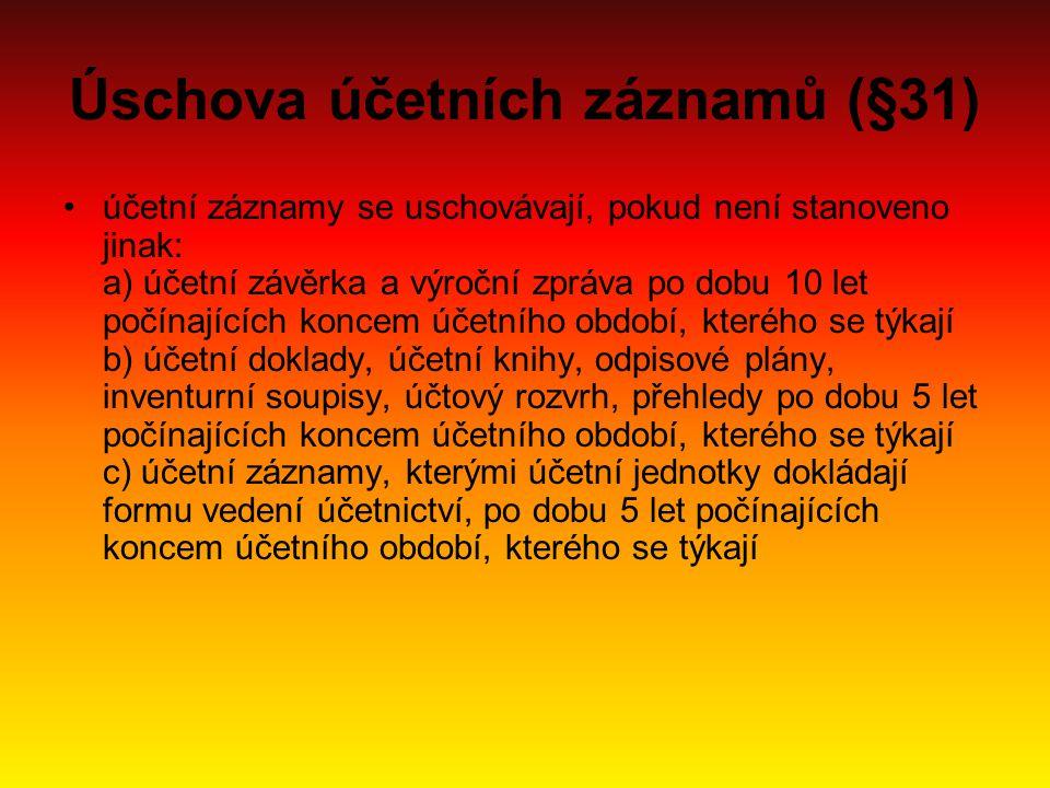 Úschova účetních záznamů (§31)