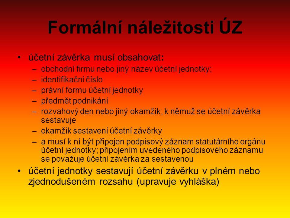 Formální náležitosti ÚZ