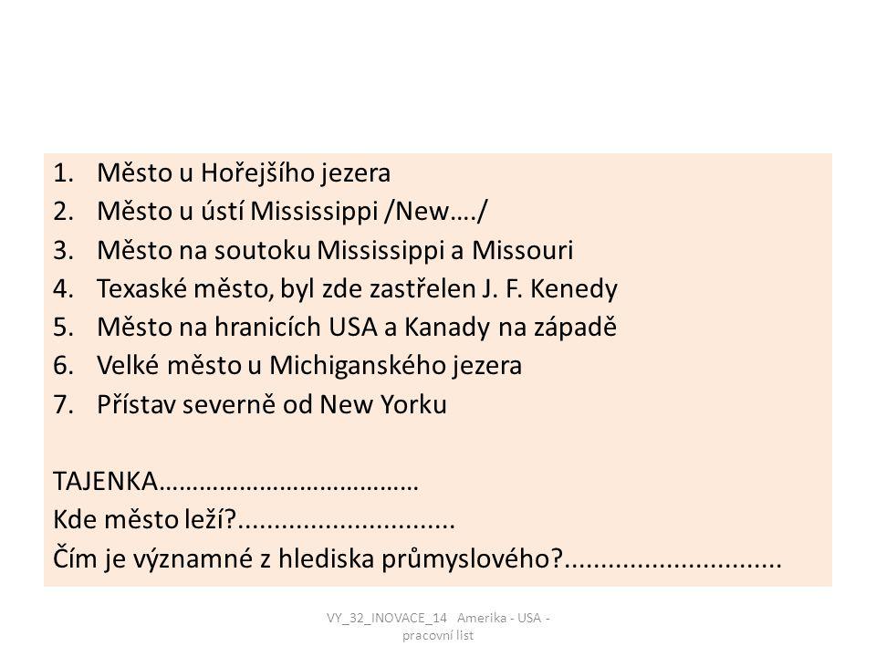 VY_32_INOVACE_14 Amerika - USA - pracovní list