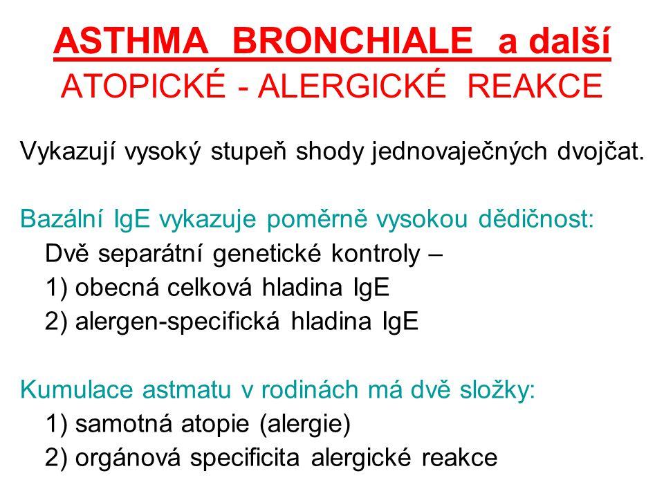 ASTHMA BRONCHIALE a další ATOPICKÉ - ALERGICKÉ REAKCE