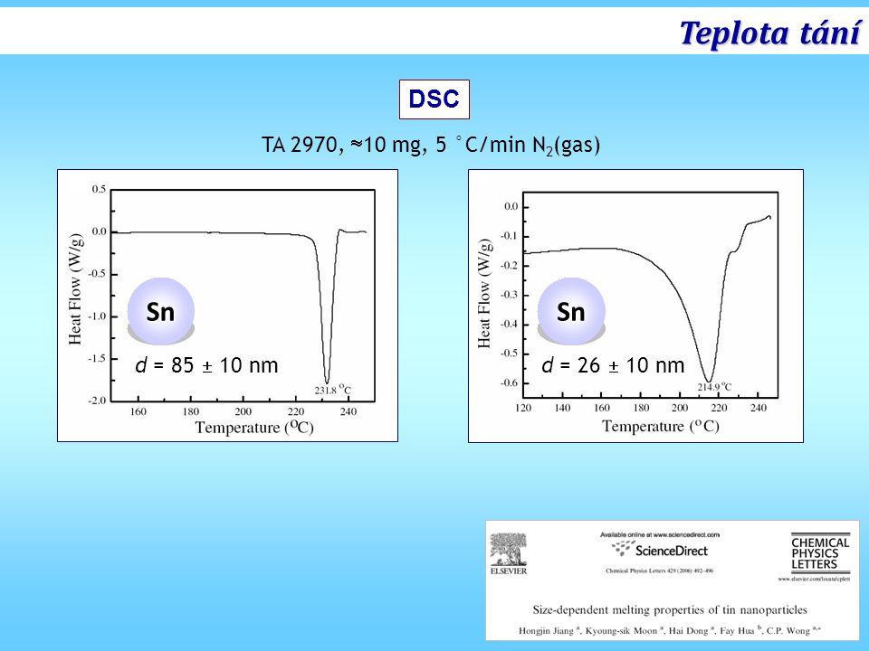 Teplota tání Sn DSC TA 2970, 10 mg, 5 °C/min N2(gas) d = 85  10 nm