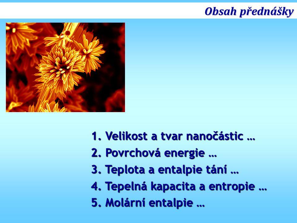 Obsah přednášky 1. Velikost a tvar nanočástic … 2. Povrchová energie … 3. Teplota a entalpie tání …