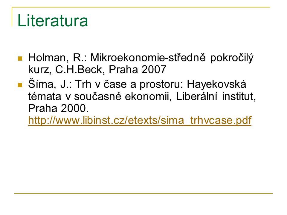 Literatura Holman, R.: Mikroekonomie-středně pokročilý kurz, C.H.Beck, Praha 2007.