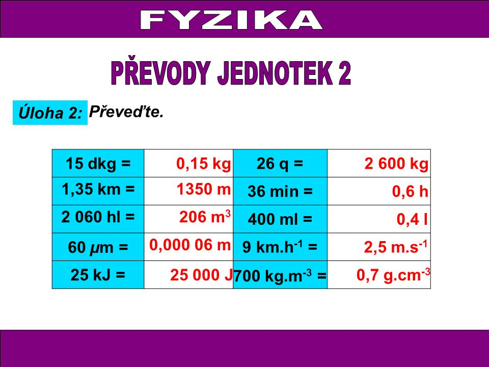 FYZIKA PŘEVODY JEDNOTEK 2 Úloha 2: Převeďte. 15 dkg = 0,15 kg 26 q =