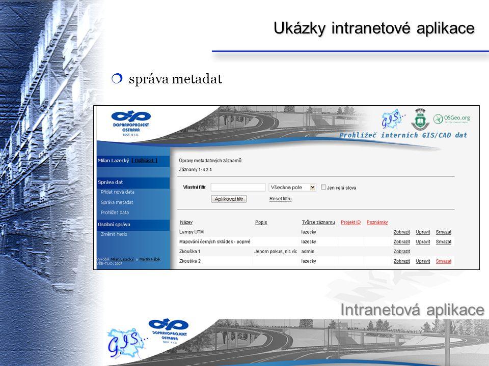 Ukázky intranetové aplikace