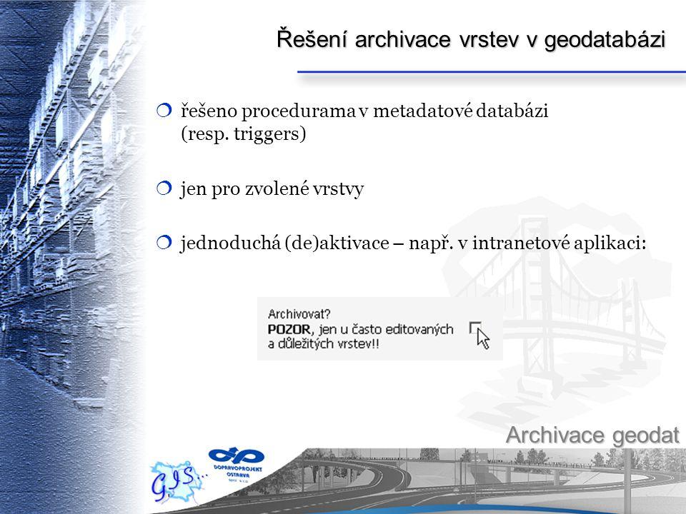 Řešení archivace vrstev v geodatabázi