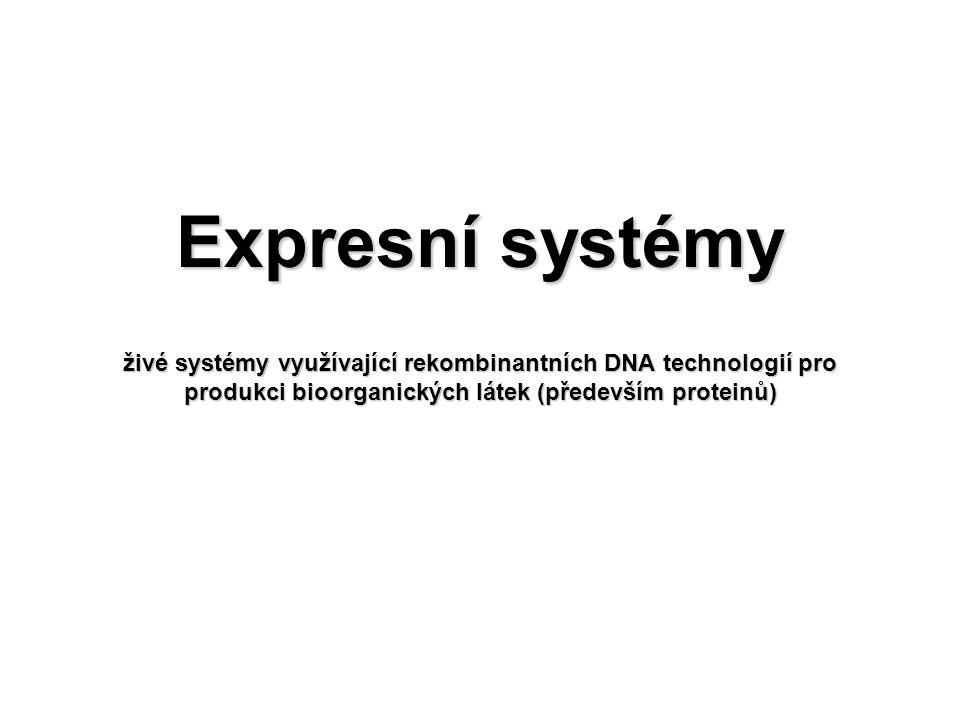Expresní systémy živé systémy využívající rekombinantních DNA technologií pro produkci bioorganických látek (především proteinů)