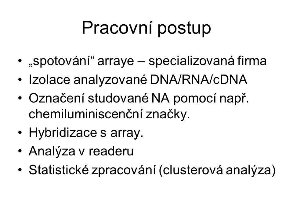 """Pracovní postup """"spotování arraye – specializovaná firma"""