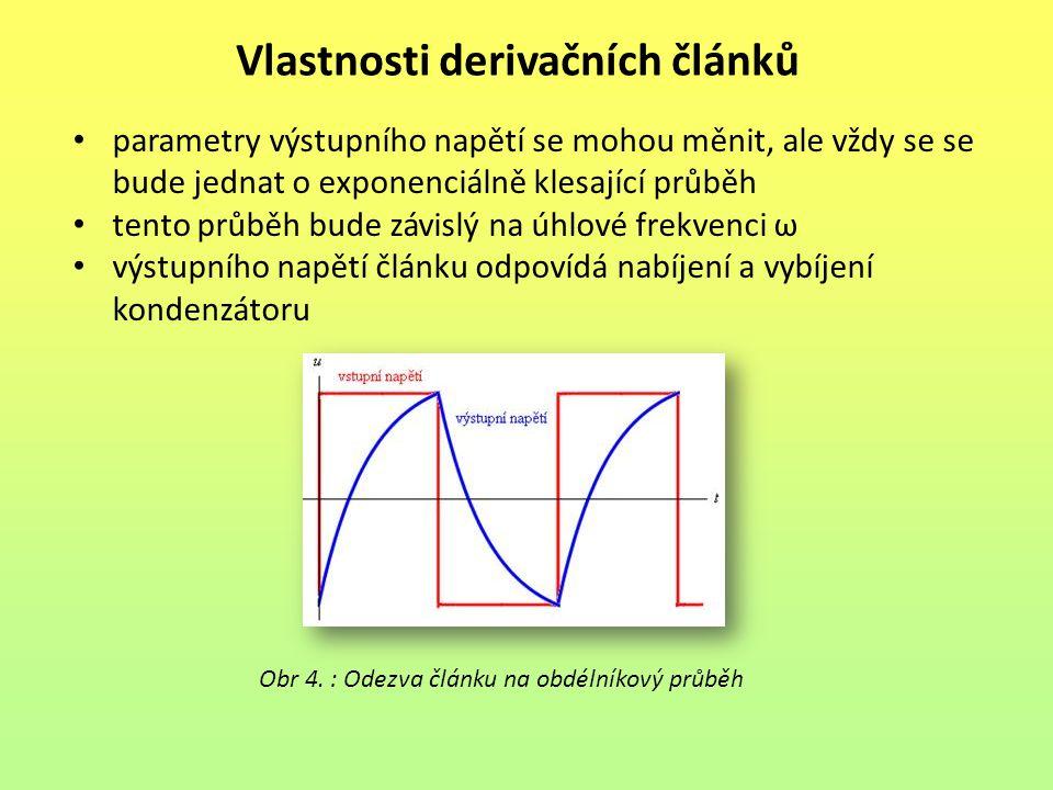 Vlastnosti derivačních článků
