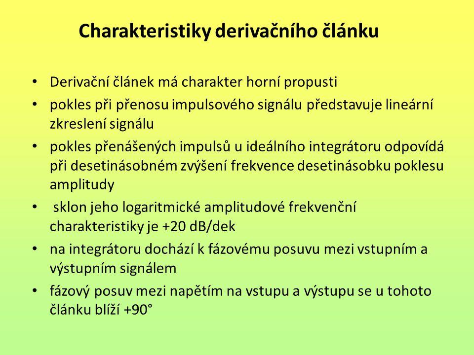 Charakteristiky derivačního článku