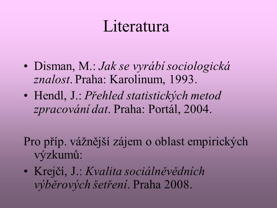Literatura Disman, M.: Jak se vyrábí sociologická znalost. Praha: Karolinum, 1993.