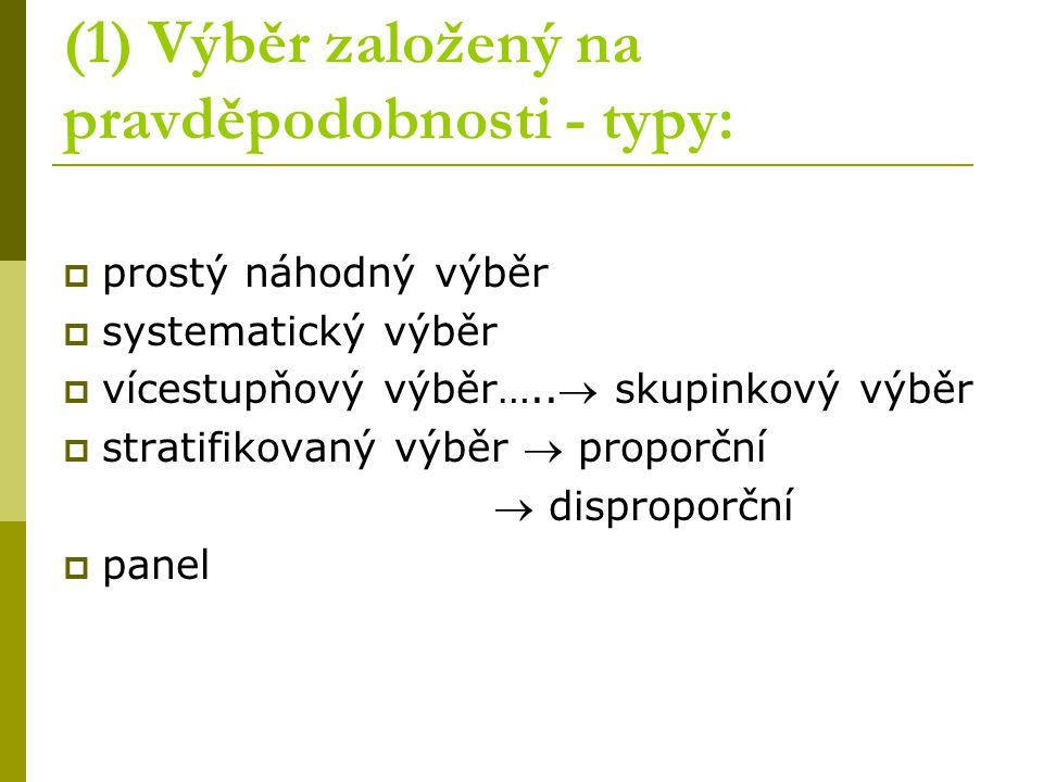 (1) Výběr založený na pravděpodobnosti - typy: