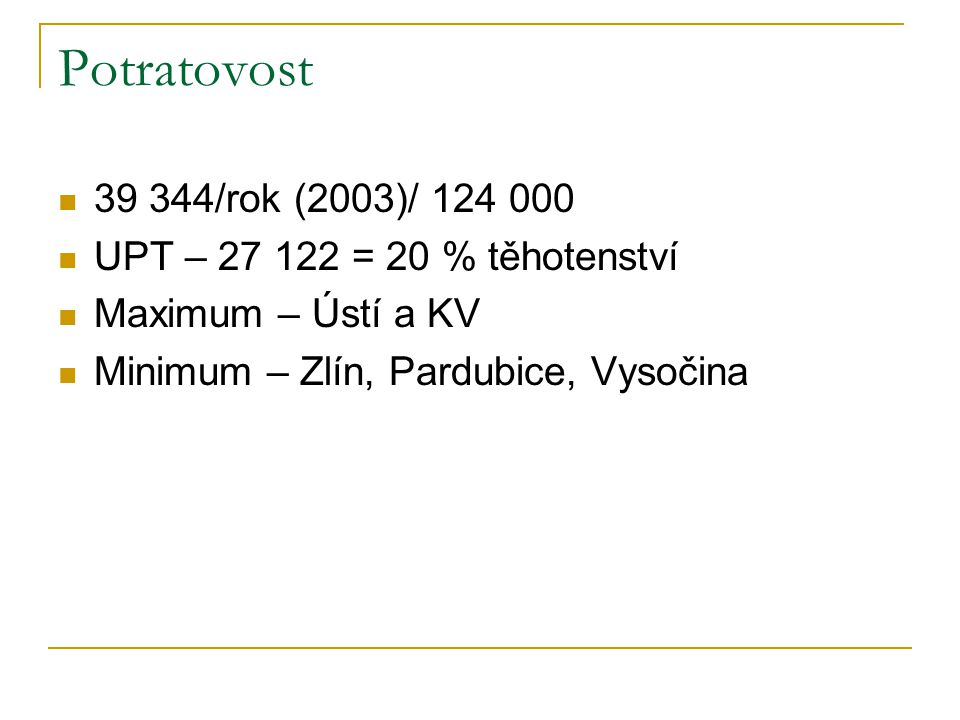 Potratovost 39 344/rok (2003)/ 124 000 UPT – 27 122 = 20 % těhotenství