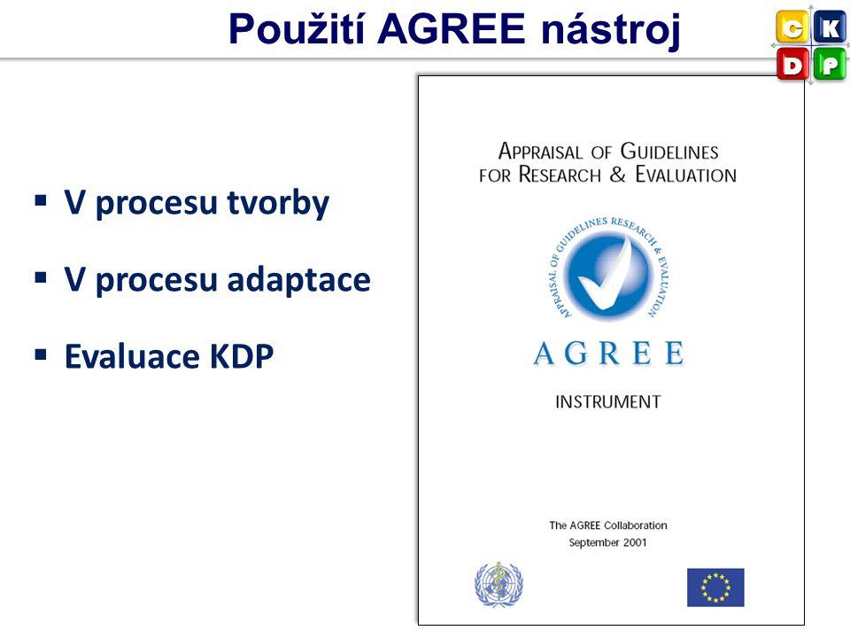 Použití AGREE nástroj V procesu tvorby V procesu adaptace Evaluace KDP