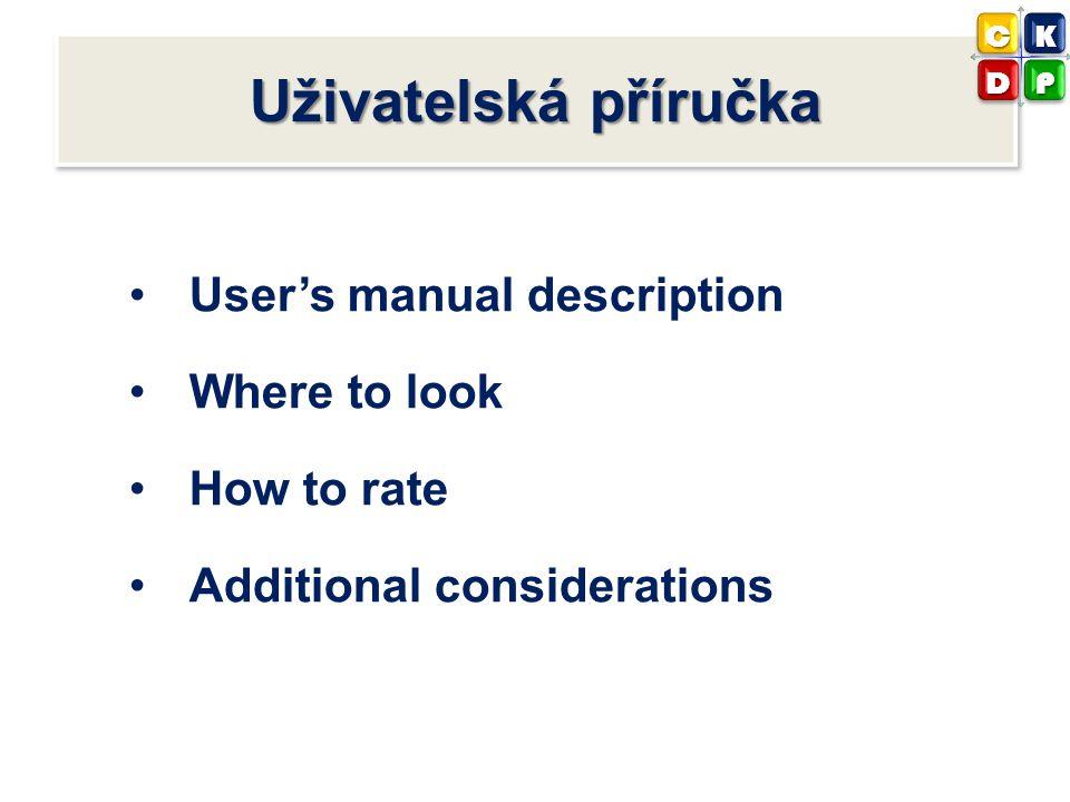 Uživatelská příručka User's manual description Where to look