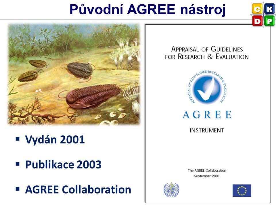 Původní AGREE nástroj Vydán 2001 Publikace 2003 AGREE Collaboration C