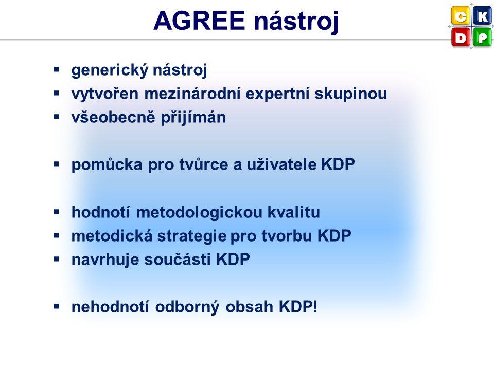 AGREE nástroj generický nástroj vytvořen mezinárodní expertní skupinou