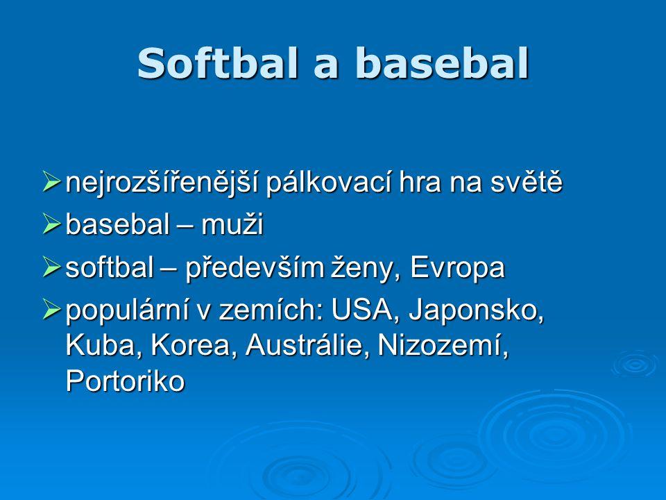 Softbal a basebal nejrozšířenější pálkovací hra na světě