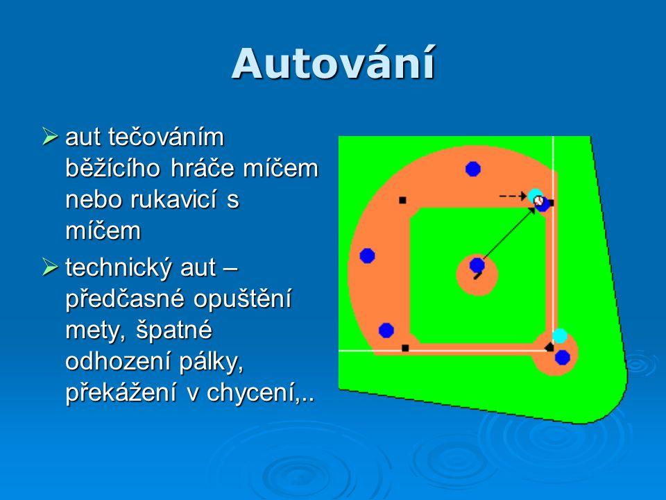 Autování aut tečováním běžícího hráče míčem nebo rukavicí s míčem