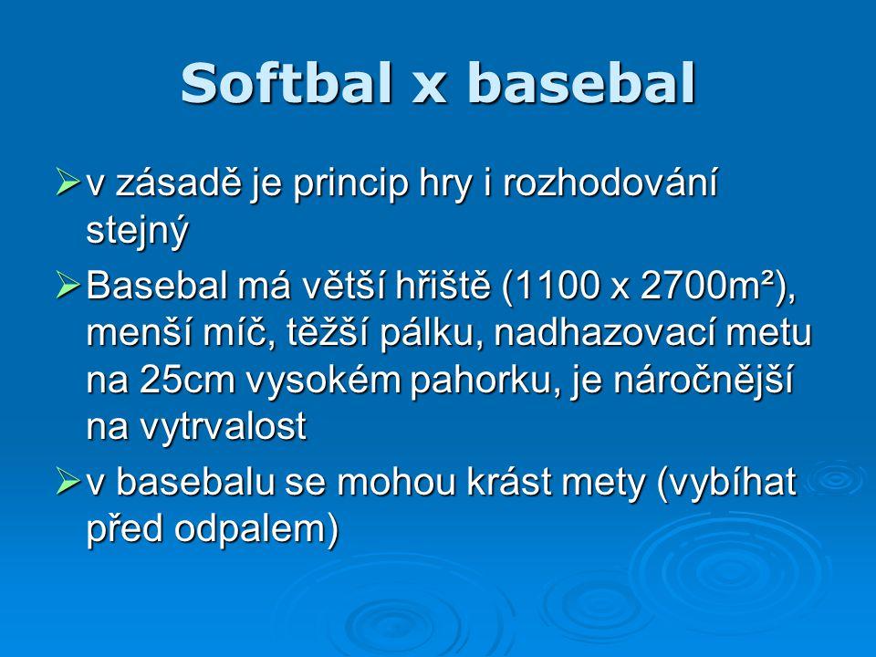 Softbal x basebal v zásadě je princip hry i rozhodování stejný