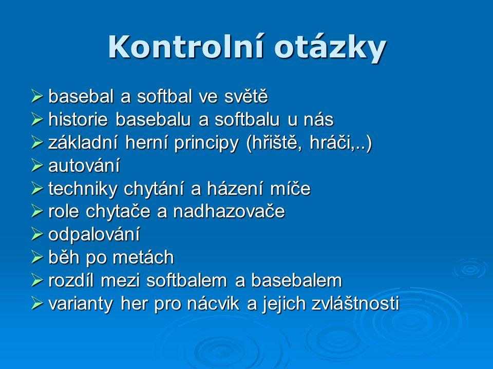 Kontrolní otázky basebal a softbal ve světě