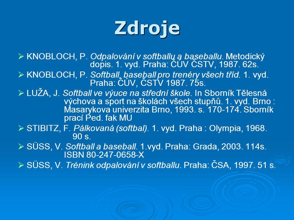 Zdroje KNOBLOCH, P. Odpalování v softballu a baseballu. Metodický dopis. 1. vyd. Praha: ČÚV ČSTV, 1987. 62s.