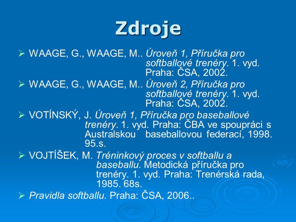 Zdroje WAAGE, G., WAAGE, M.. Úroveň 1, Příručka pro softballové trenéry. 1. vyd. Praha: ČSA, 2002.