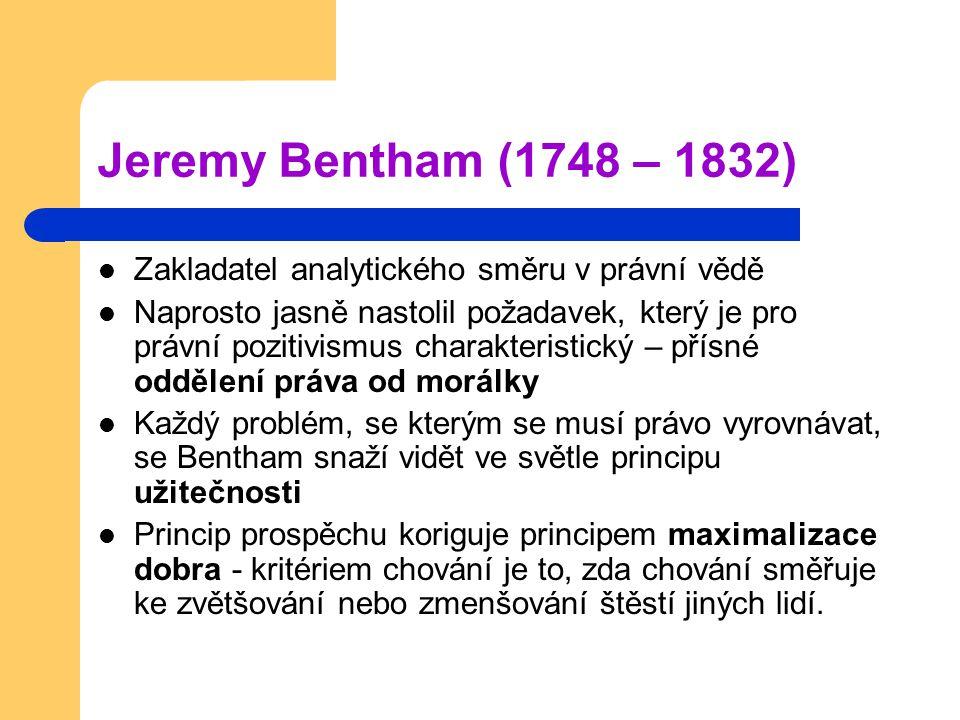 Jeremy Bentham (1748 – 1832) Zakladatel analytického směru v právní vědě.