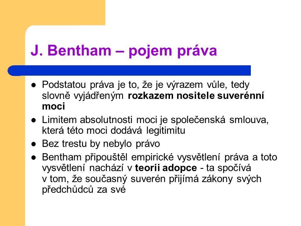 J. Bentham – pojem práva Podstatou práva je to, že je výrazem vůle, tedy slovně vyjádřeným rozkazem nositele suverénní moci.