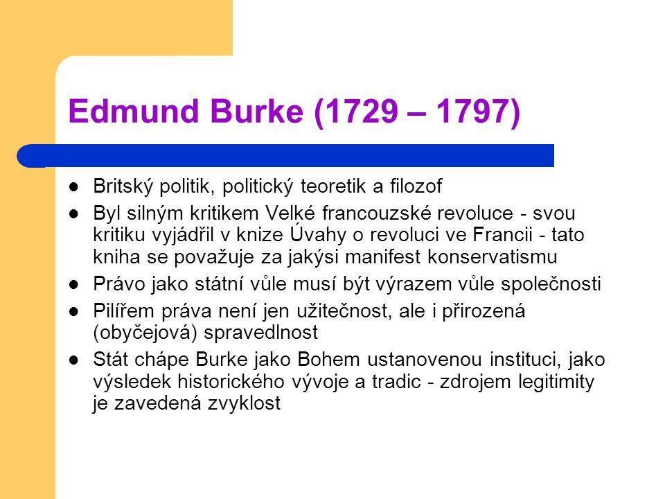 Edmund Burke (1729 – 1797) Britský politik, politický teoretik a filozof.