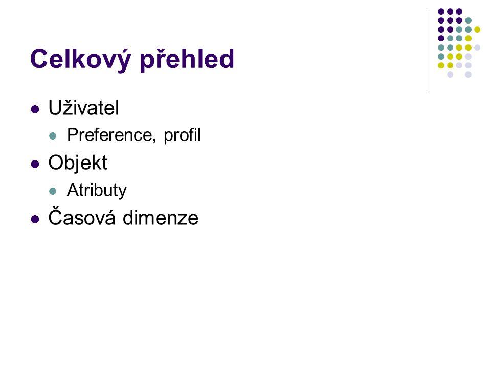 Celkový přehled Uživatel Objekt Časová dimenze Preference, profil