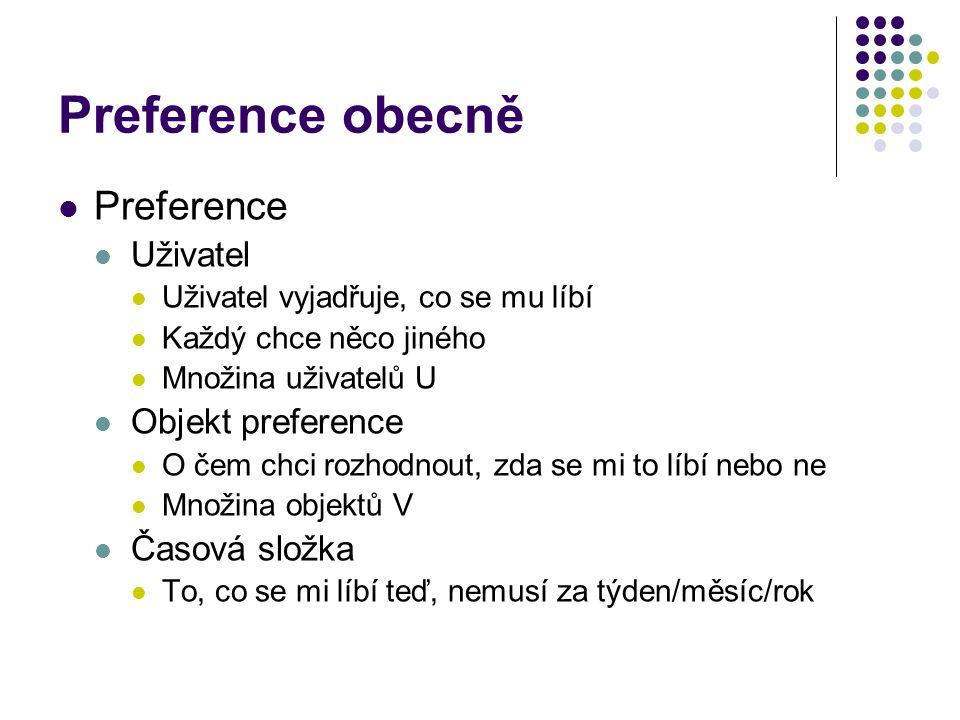 Preference obecně Preference Uživatel Objekt preference Časová složka