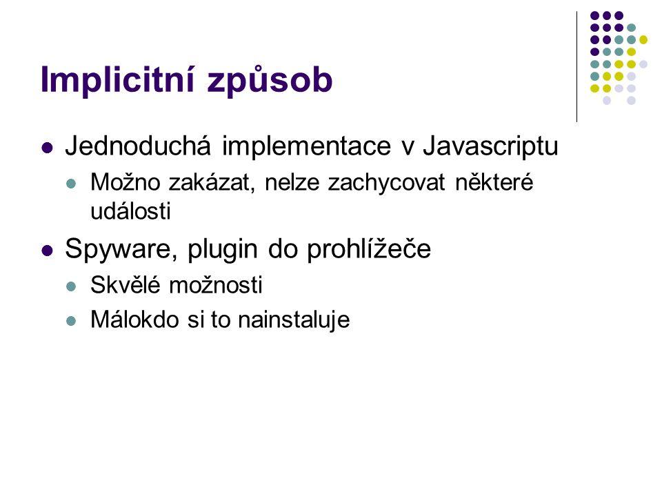 Implicitní způsob Jednoduchá implementace v Javascriptu