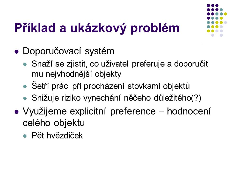 Příklad a ukázkový problém