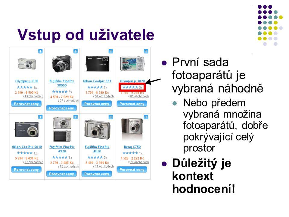 Vstup od uživatele První sada fotoaparátů je vybraná náhodně