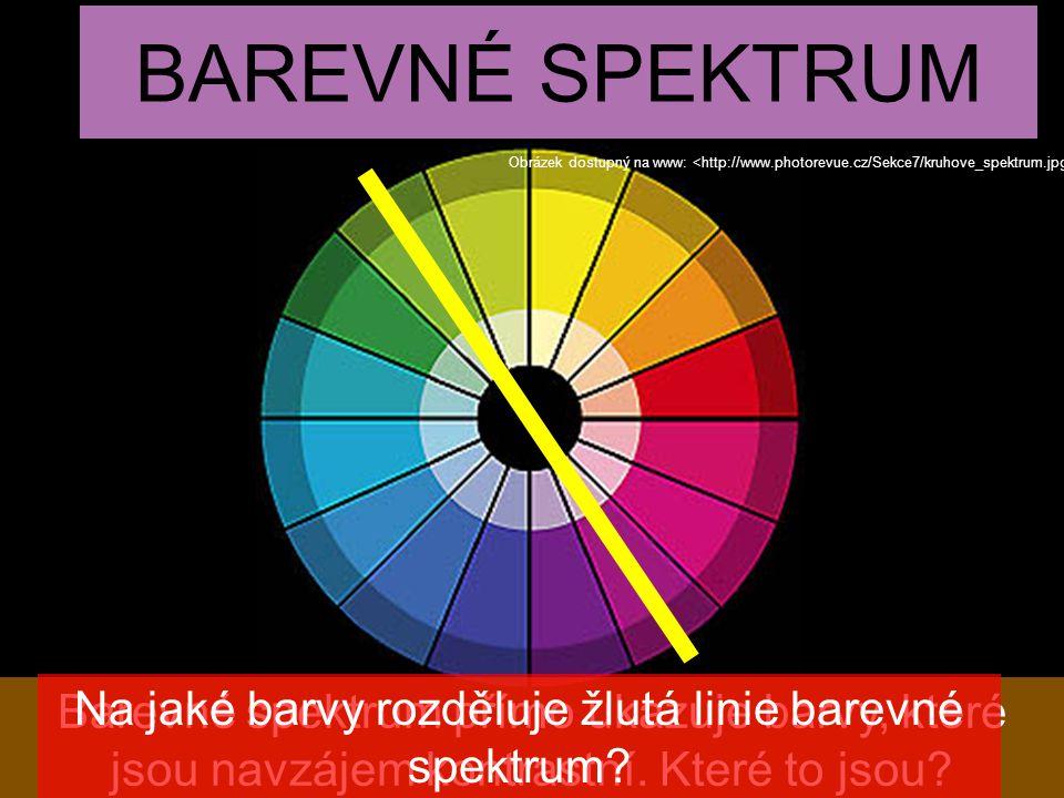Na jaké barvy rozděluje žlutá linie barevné spektrum