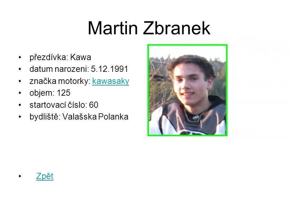 Martin Zbranek přezdívka: Kawa datum narozeni: 5.12.1991