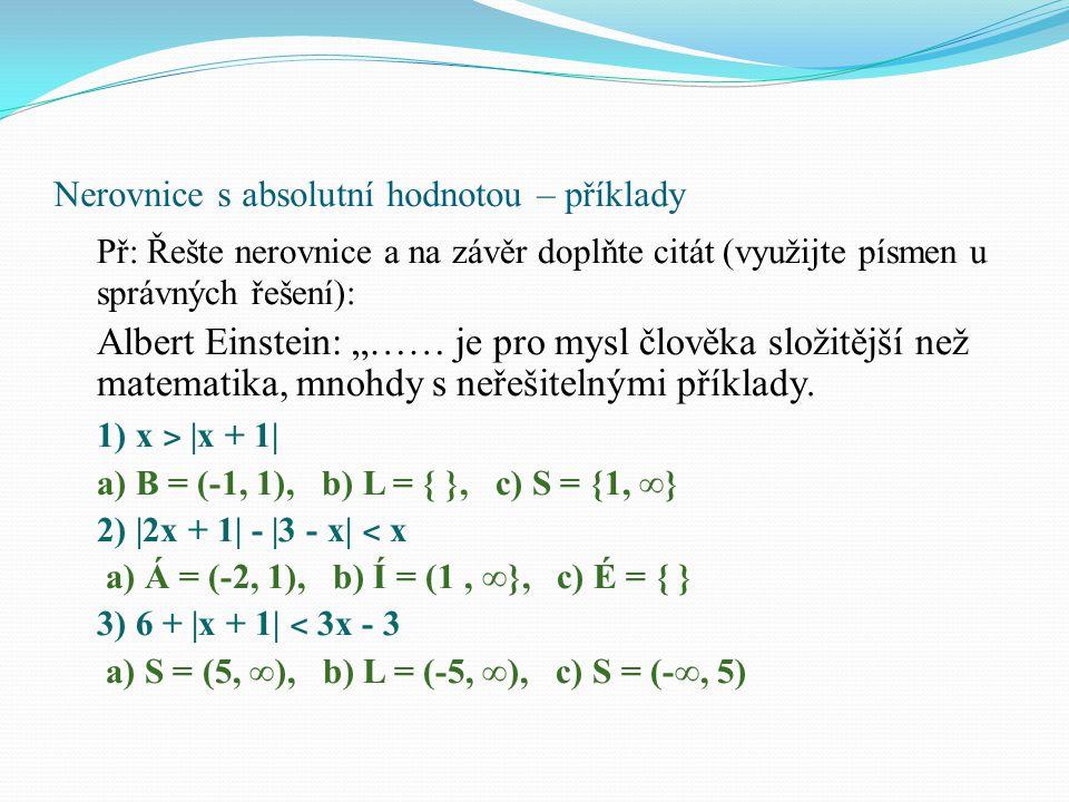 Nerovnice s absolutní hodnotou – příklady