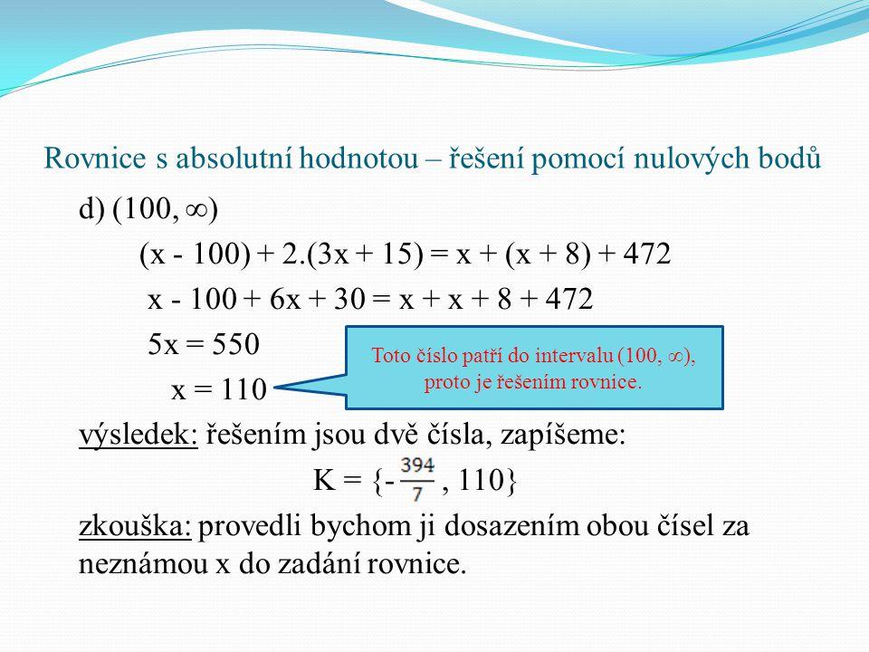 Rovnice s absolutní hodnotou – řešení pomocí nulových bodů