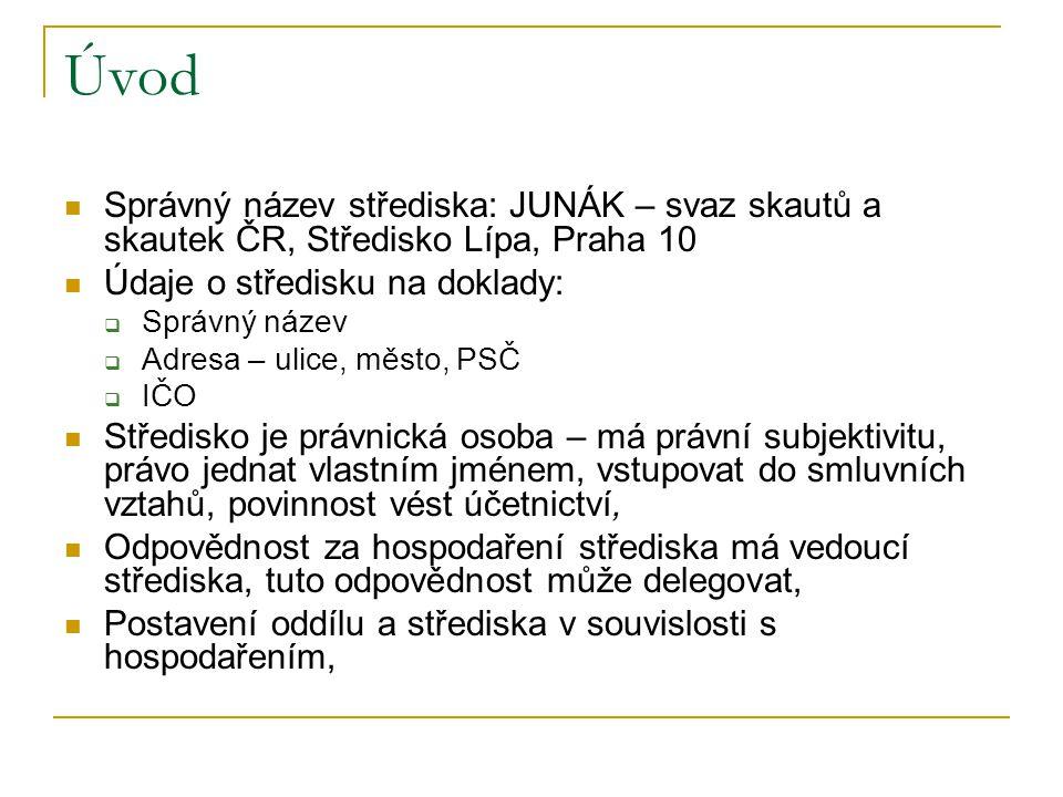 Úvod Správný název střediska: JUNÁK – svaz skautů a skautek ČR, Středisko Lípa, Praha 10. Údaje o středisku na doklady: