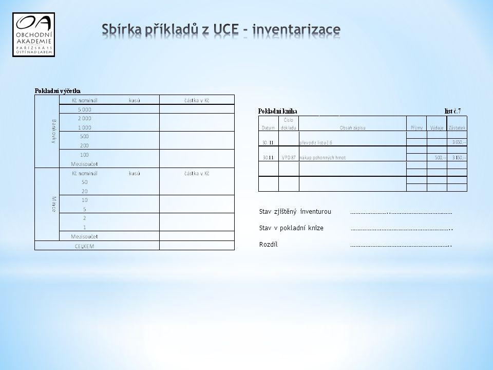 Sbírka příkladů z UCE - inventarizace