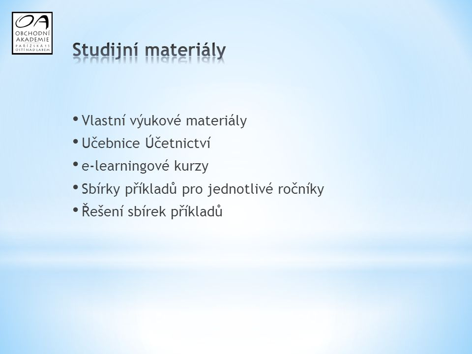 Studijní materiály Vlastní výukové materiály Učebnice Účetnictví