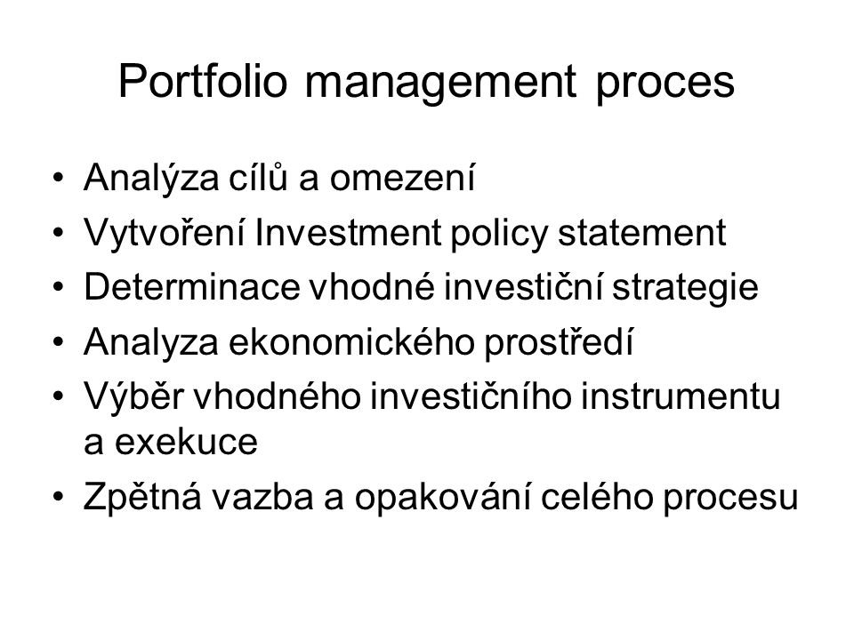 Portfolio management proces