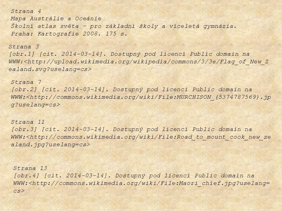 Strana 4 Mapa Austrálie a Oceánie. Školní atlas světa – pro základní školy a víceletá gymnázia. Praha: Kartografie 2008. 175 s.