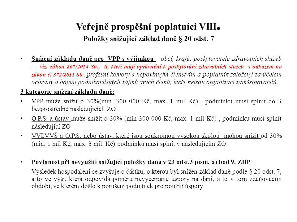 Veřejně prospěšní poplatníci VIII