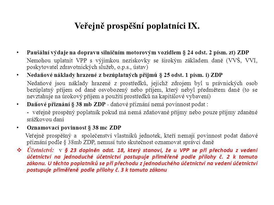 Veřejně prospěšní poplatníci IX.