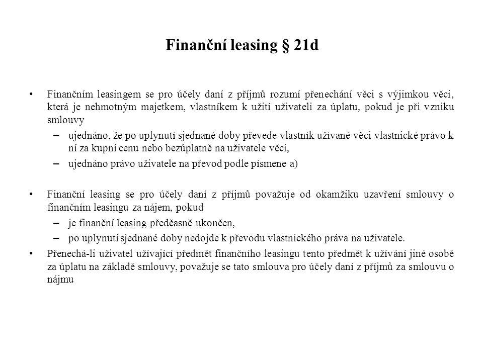 Finanční leasing § 21d