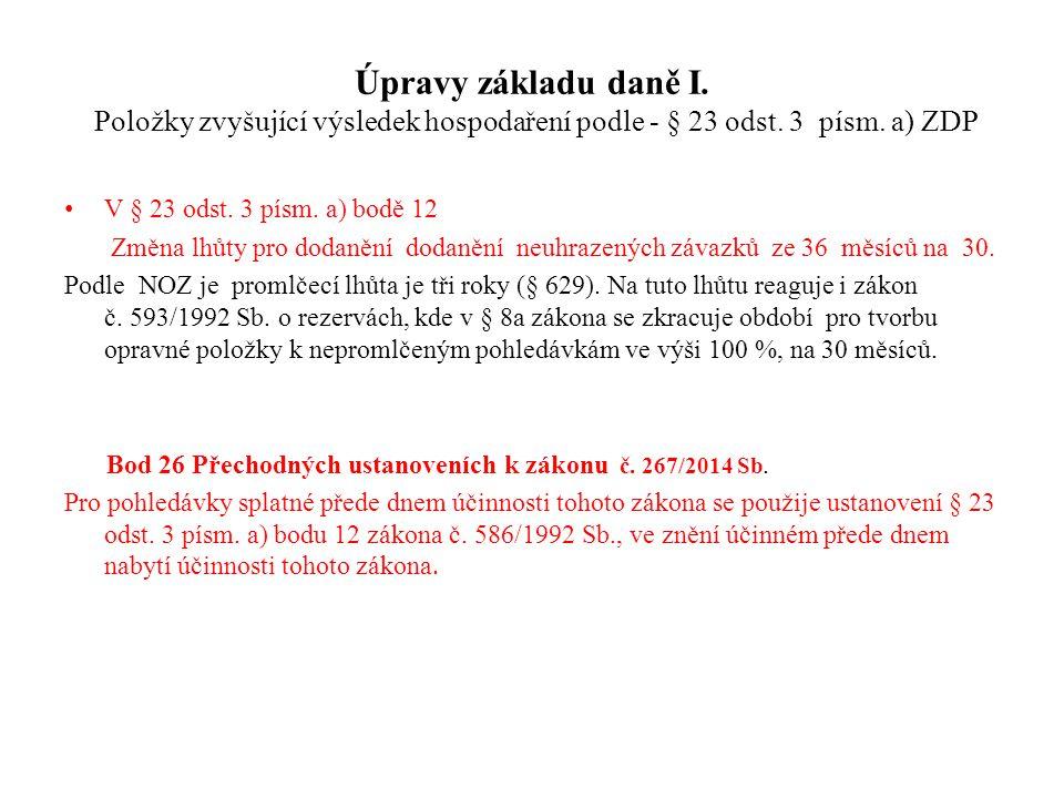 Úpravy základu daně I. Položky zvyšující výsledek hospodaření podle - § 23 odst. 3 písm. a) ZDP