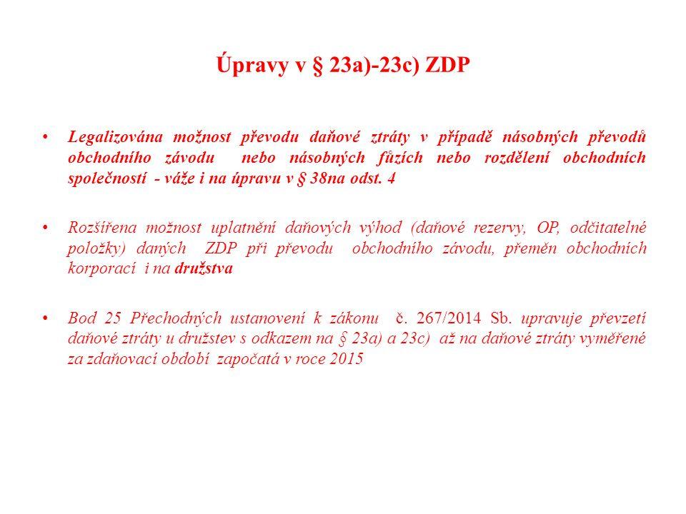 Úpravy v § 23a)-23c) ZDP